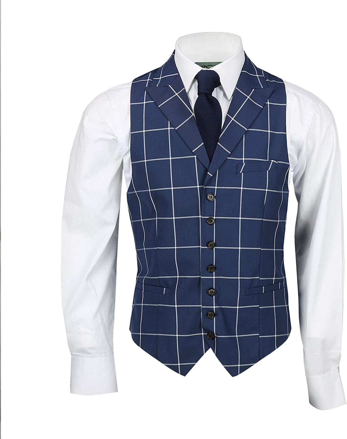 Mens 3 Piece Double Breasted Suit White Window Pane Check on Navy Blue Classic Retro Tailored Fit