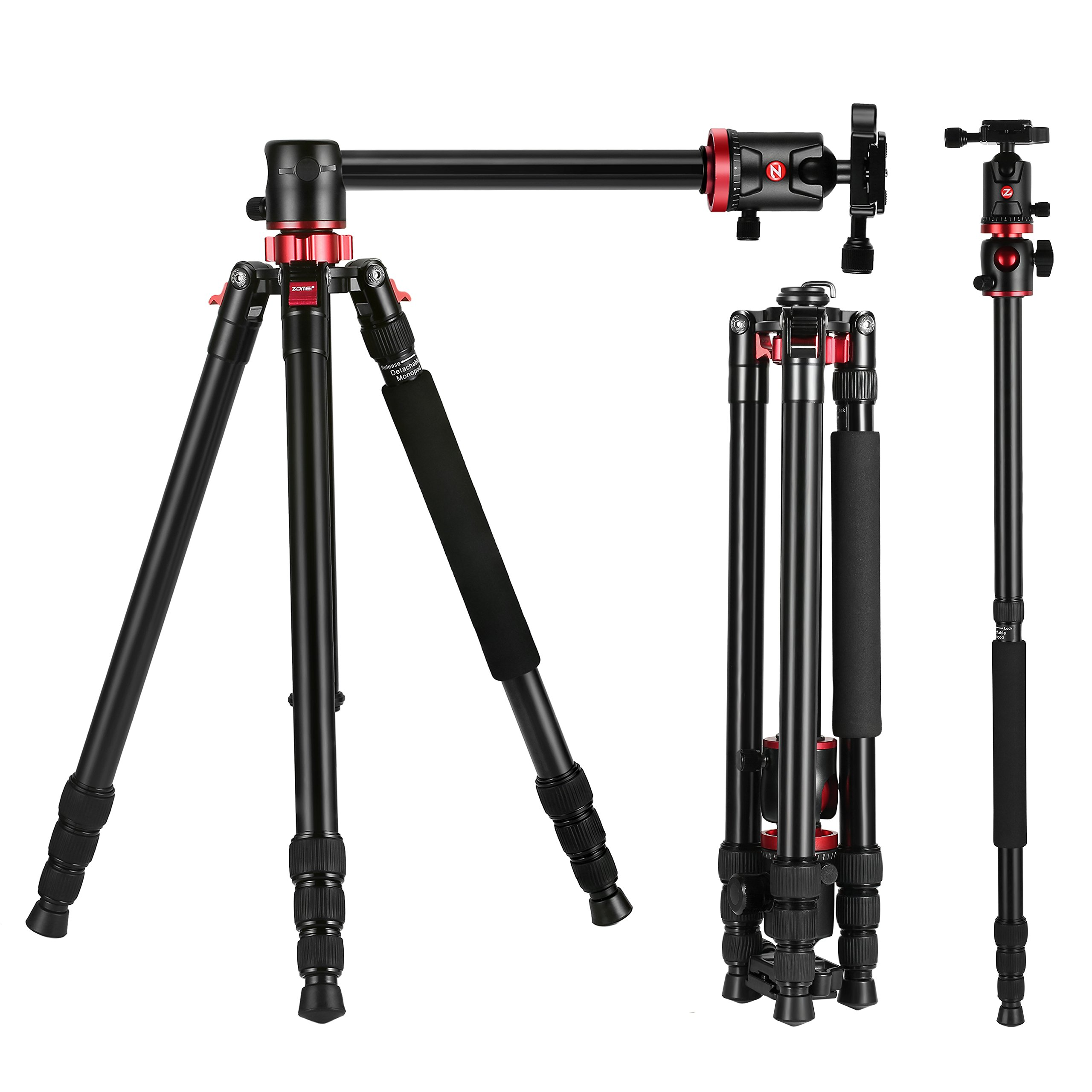 ZOMEI Camera Tripod 72 inch Portable Professioional Aluminium Monopod 4 Section Professional Tripods With 360 Degree Ball Head QR Plate for Canon Nikon Dslr DV Scope camcorder and Projector by ZOMEI