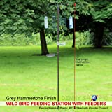 Denny International® Wild Bird Feeding Station with Feeders Water & Seed Tray Perfect for Gardens Outdoor Feeder Table Ground Spike Base (Height: 223cm Tall)