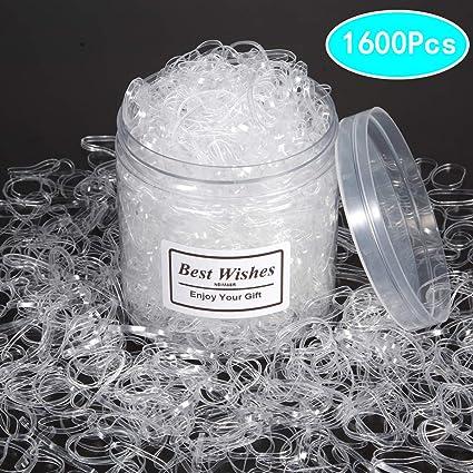 Amazon.com  1600 Pieces Clear Elastics Hair Bands 96743f69414