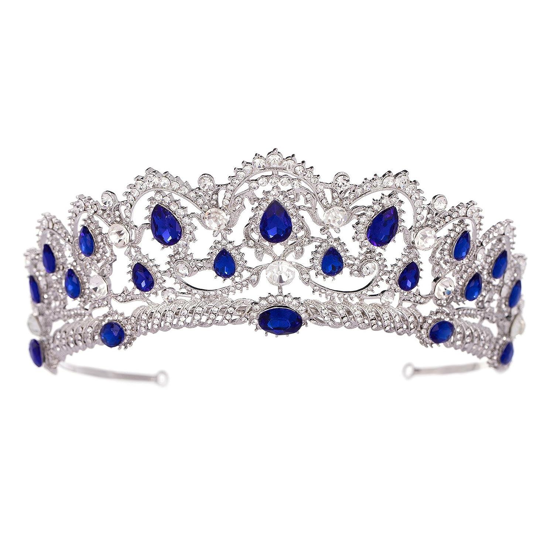 SWEETV Couronne de Mariage pour Femme Diad/ème de Princesse en Strass Or Rose Couronne de Reine Accessoires Cheveux