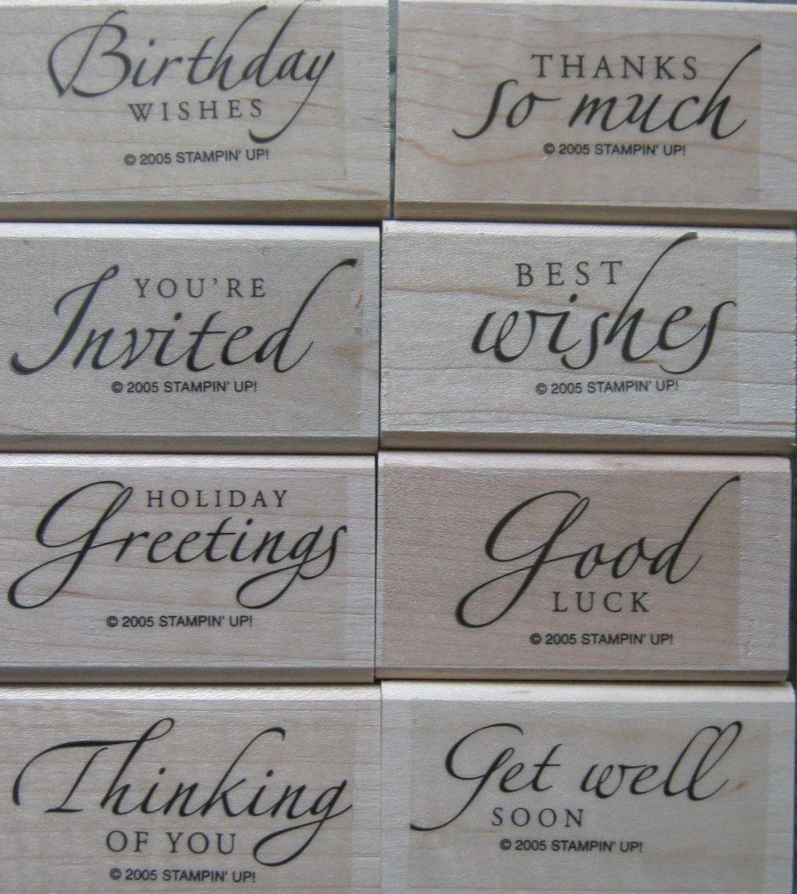 Stampin' Up! Sincere Salutations Set of 8 Mounted Wood Stamps - Retired 2005