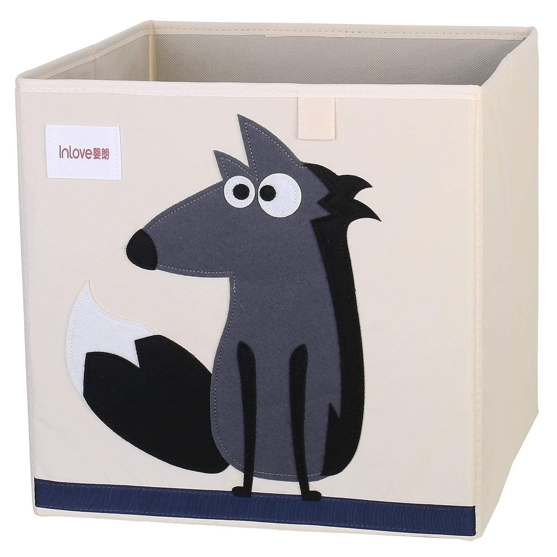 Cartoon Aufbewahrungsw/ürfel Leinwand faltbare Spielzeug Aufbewahrungsbox f/ür Kinder von ELLEMOI Wolf