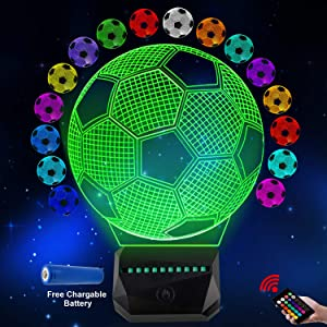 3D LED Night Light Soccer Rechargeable 3D Optical Illusion Lamp for Kid Girl Boy Bedroom Soccer Lamps with Remote Control 16 Color Touch Operated USB Battery Power Decor Xma (3D Soccer)