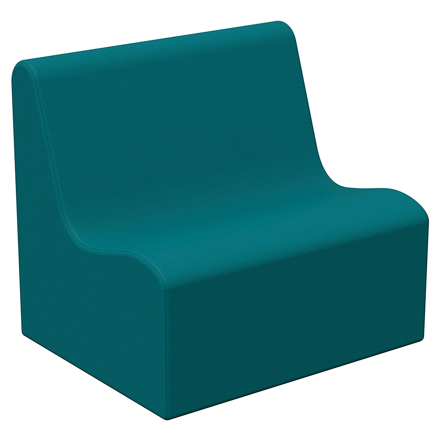 FDP SoftScape Wave Preschool Sofa Seating, Children's Soft Supportive Foam Furniture for Home, Kid's Playroom, Bedroom, Classroom, Waiting Areas - Teal