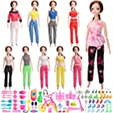 SOTOGO 115 Pcs Barbie Doll Clothes Set Include 10 Pcs Handmade Blouses, 10 Pcs Trousers And 95 Pcs Barbie Doll Accessories Shoes Bags Necklace Hanger Tableware Bicycle For Little Girl