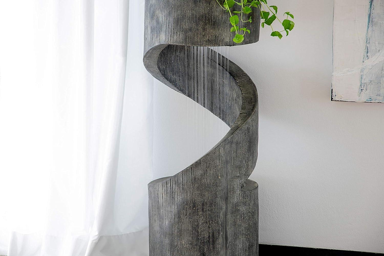 Cascada en Espiral con Maceta de Piedra Artificial Gris di/ámetro 31,5 x 79,5 cm dobar Fuente de jard/ín de Gran dise/ño con Bomba y LED