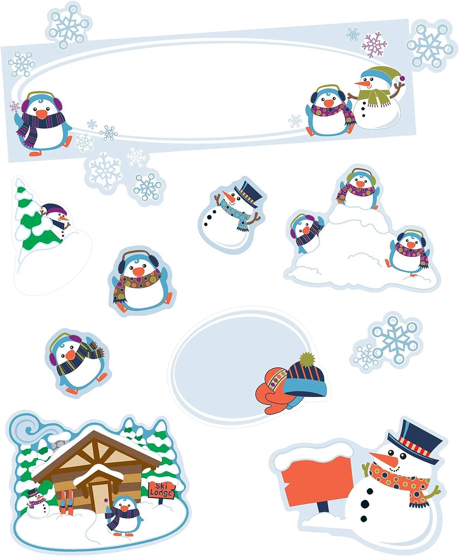 Amazon Com Carson Dellosa Winter Wonderland Mini Bulletin Board Decor Set Header And Scenes Blank Signs Penguin Snowman Snowflake Cutouts With Resource Guide 50 Pc Office Products