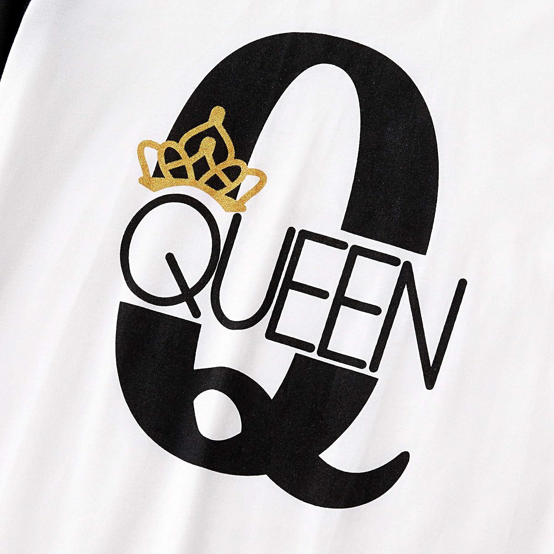 Yaffi Pigiama Coordinato Famiglia Set Outfit da Festival Due Pezzi King Queen Top Stampato con Pantaloni a Quadri Loungewear per Daddy Mommy And Me Pjs