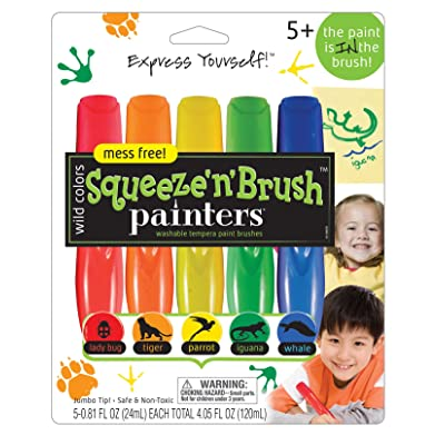 ELMERS Painters Squeeze 'n Brush Washable Tempera Paint Brushes, 5 Set, Wild Colors (E112): Office Products