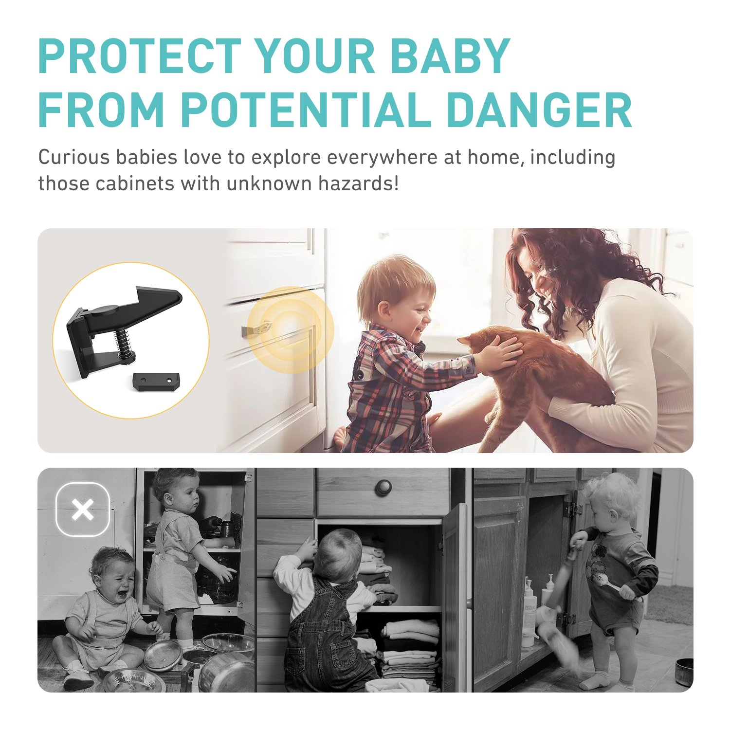 Cabinet Locks Safety Locks Baby Proofing Cabinets, Fast and Easy Installation 10 Packs Child Cabinet Locks-Without Tools Drilling Measuring for Drawers, Cabinets, Closets by Babebay (Image #1)