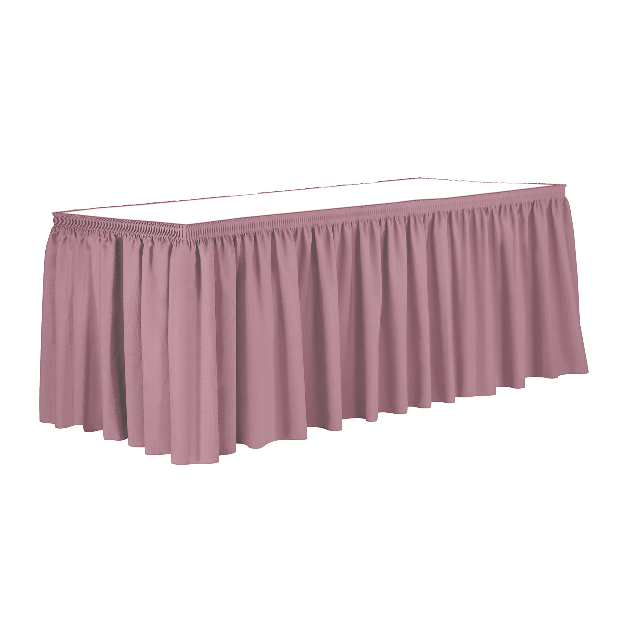Ultimate Textile 14 ft. Shirred Pleat Polyester Table Skirt - 36'' Counter Serving Height, Dusty Rose Pink