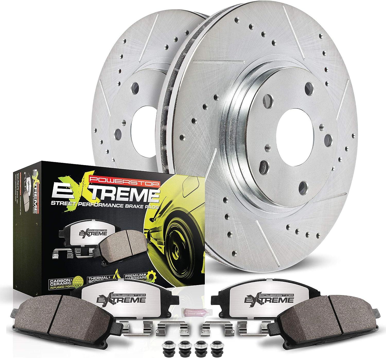 Power Stop K7891-26 Z26 Front Brake Kit-Drilled//Slotted Brake Rotor /& Carbon Ceramic Brake Pads