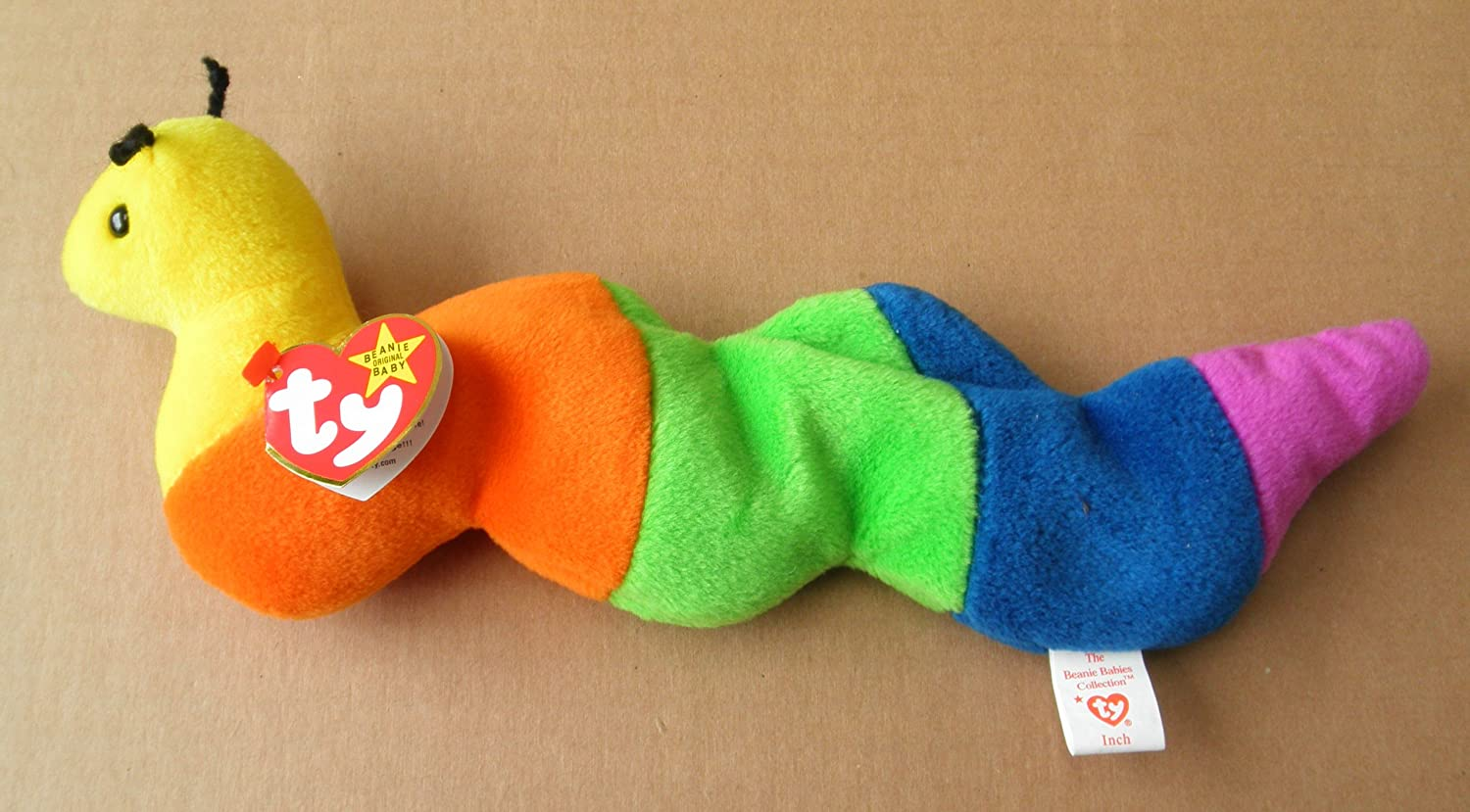 Amazon.com: TY Beanie Babies Inch the Worm Stuffed Animal Plush Toy - 11  inches long - Multi-color - Style 4044: Office Products