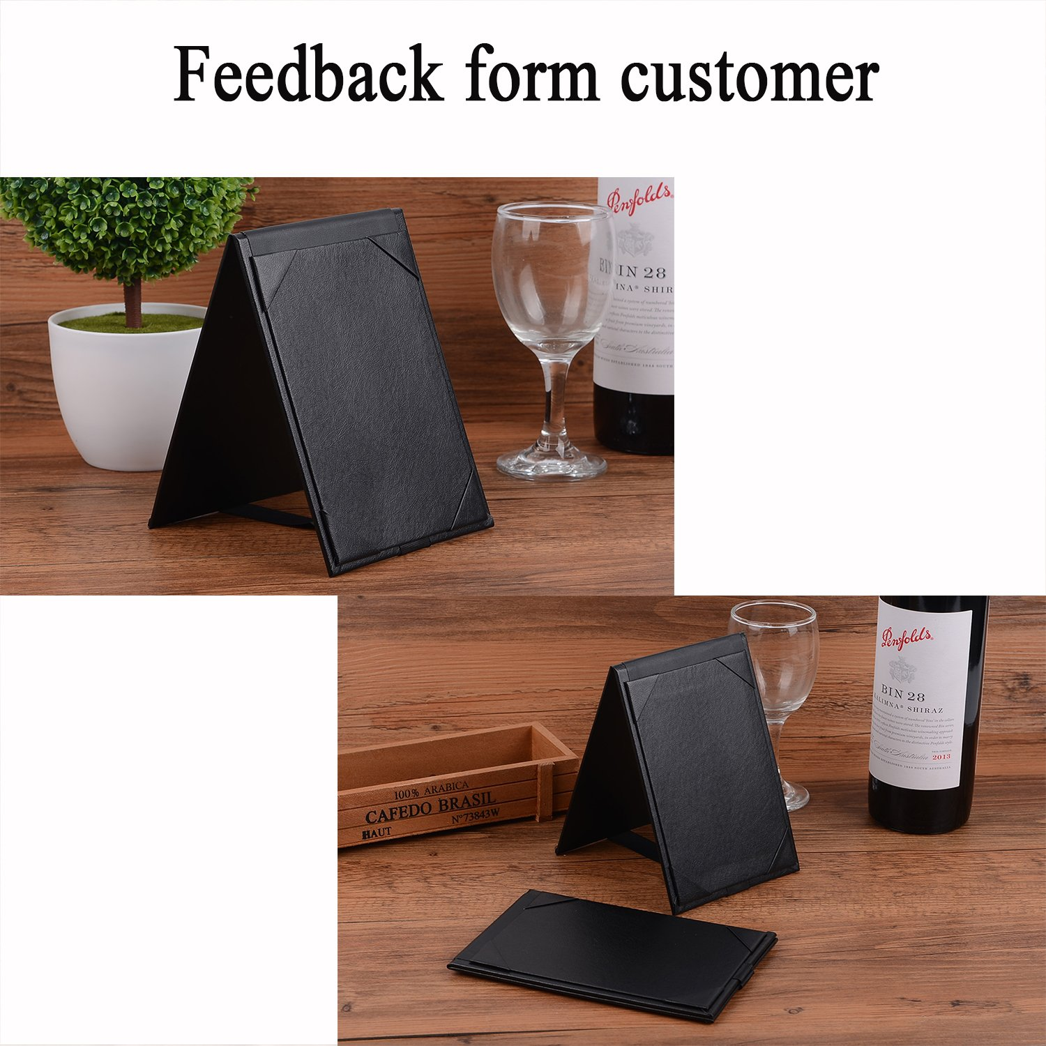 10PCS Menu Holder Menu Covers for Specials or Drinks Black (6''×4'' inch)