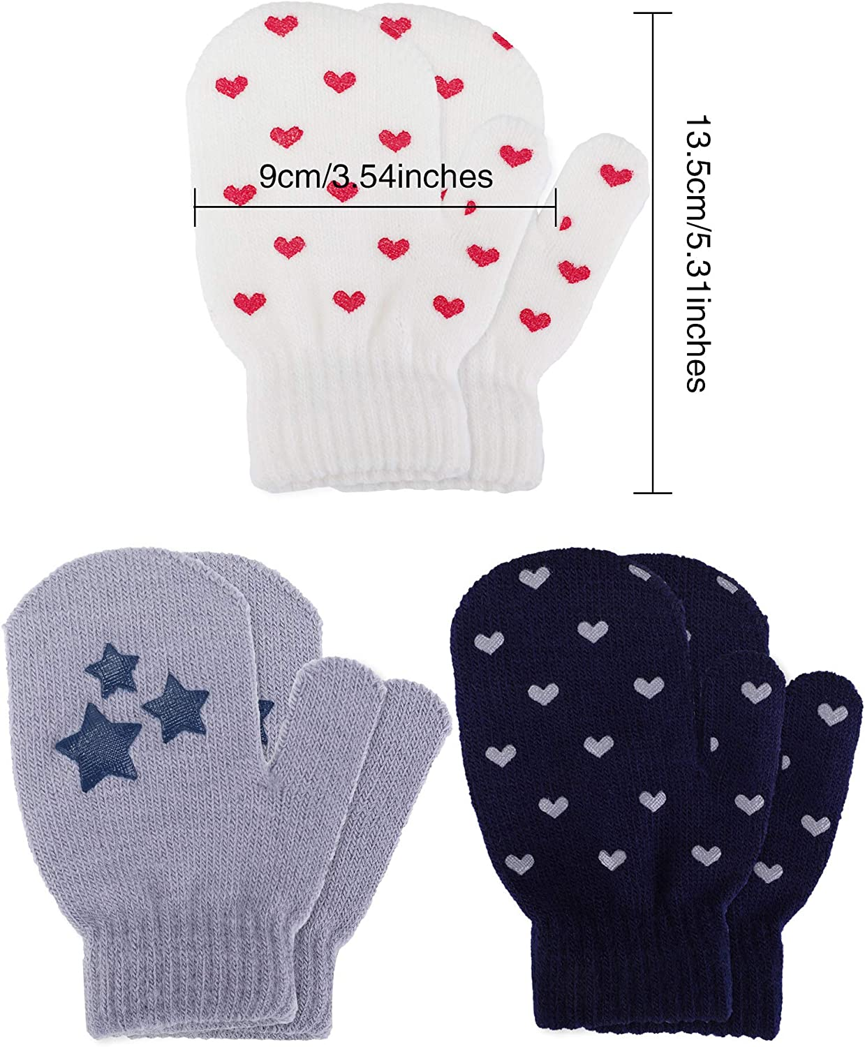 Satinior 3 Pairs Toddler Magic Stretch Mittens Little Girls Soft Knit Mitten Baby Boys Winter Knitted Gloves