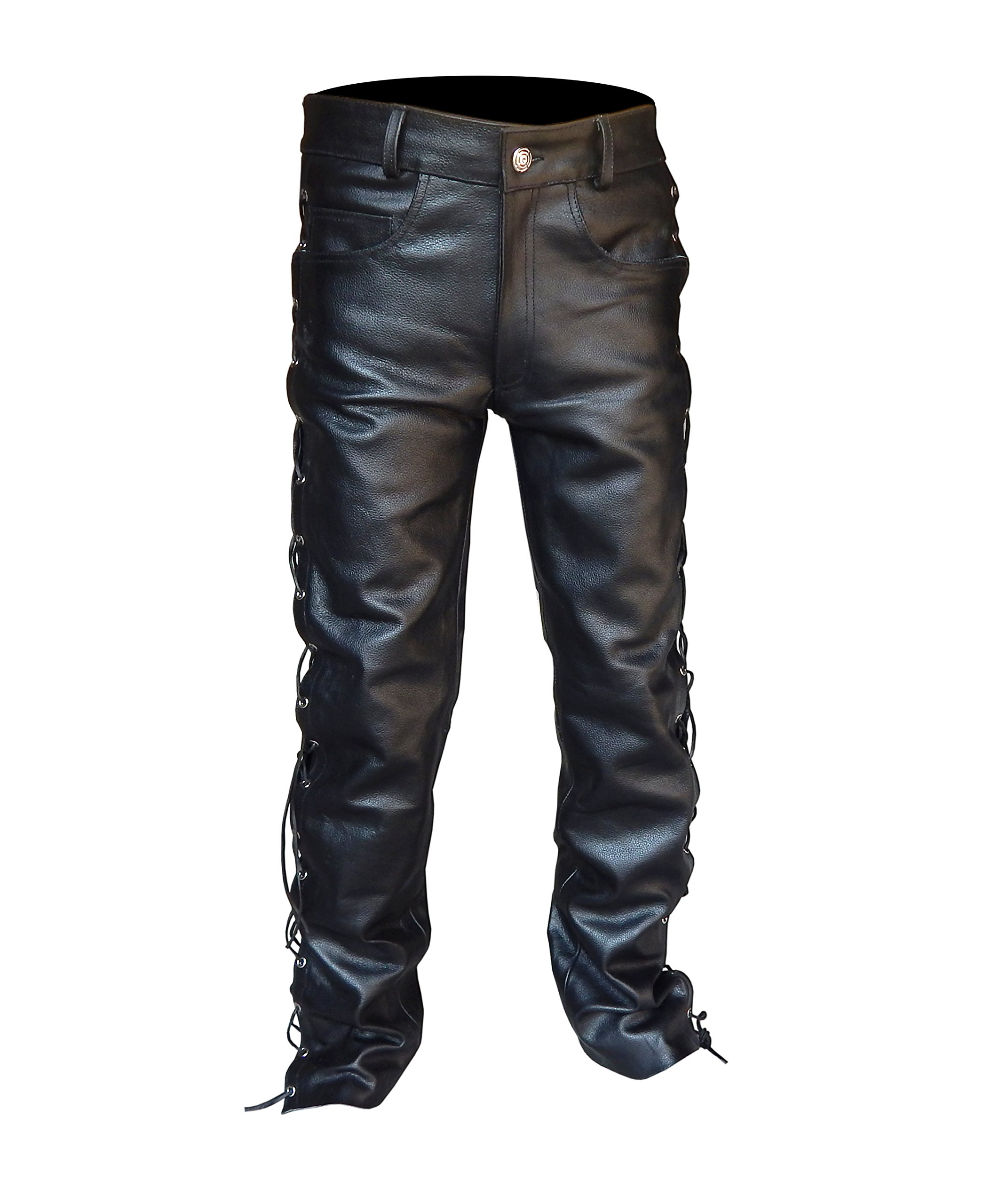 2Fit Men's Thick Cowhide Leather Side Laces Jeans Model Pant Waist Size 30'' to 42'' (42'' Waist)