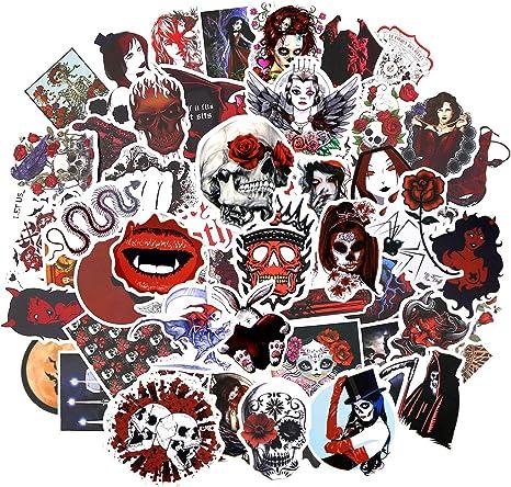 Gothic Aufkleber Schwarz 50 Stück 50pcs Red Gothic Sticker Küche Haushalt
