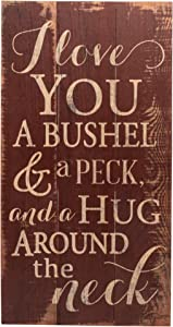 P. Graham Dunn I Love You a Bushel and a Peck Distressed Red 20 x 11 Wood Pallet Design Wall Art Sign