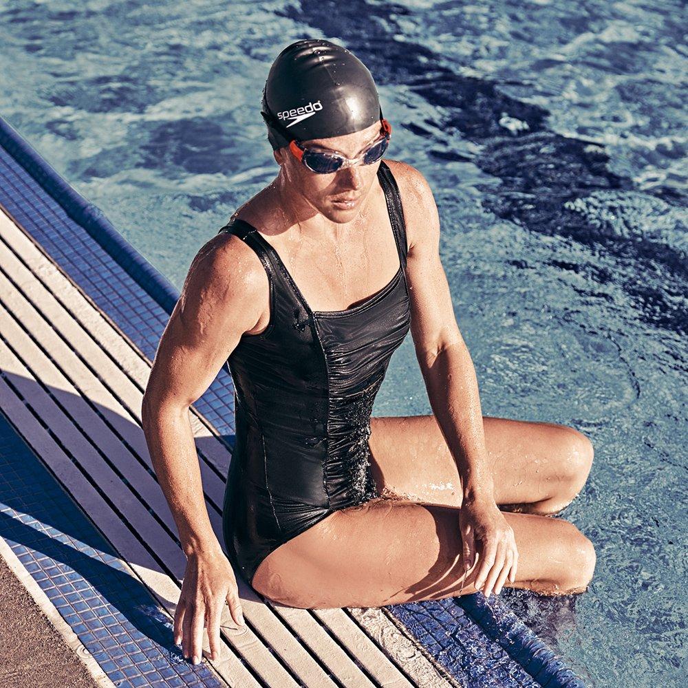 Speedo Women's Endurance+ Shirred Tank One Piece Swimsuit, Black, Size 8 by Speedo (Image #3)