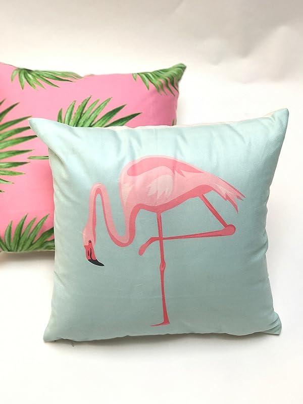 Cojín terciopelo flamenco azul y rosa tropical pop almohada ...