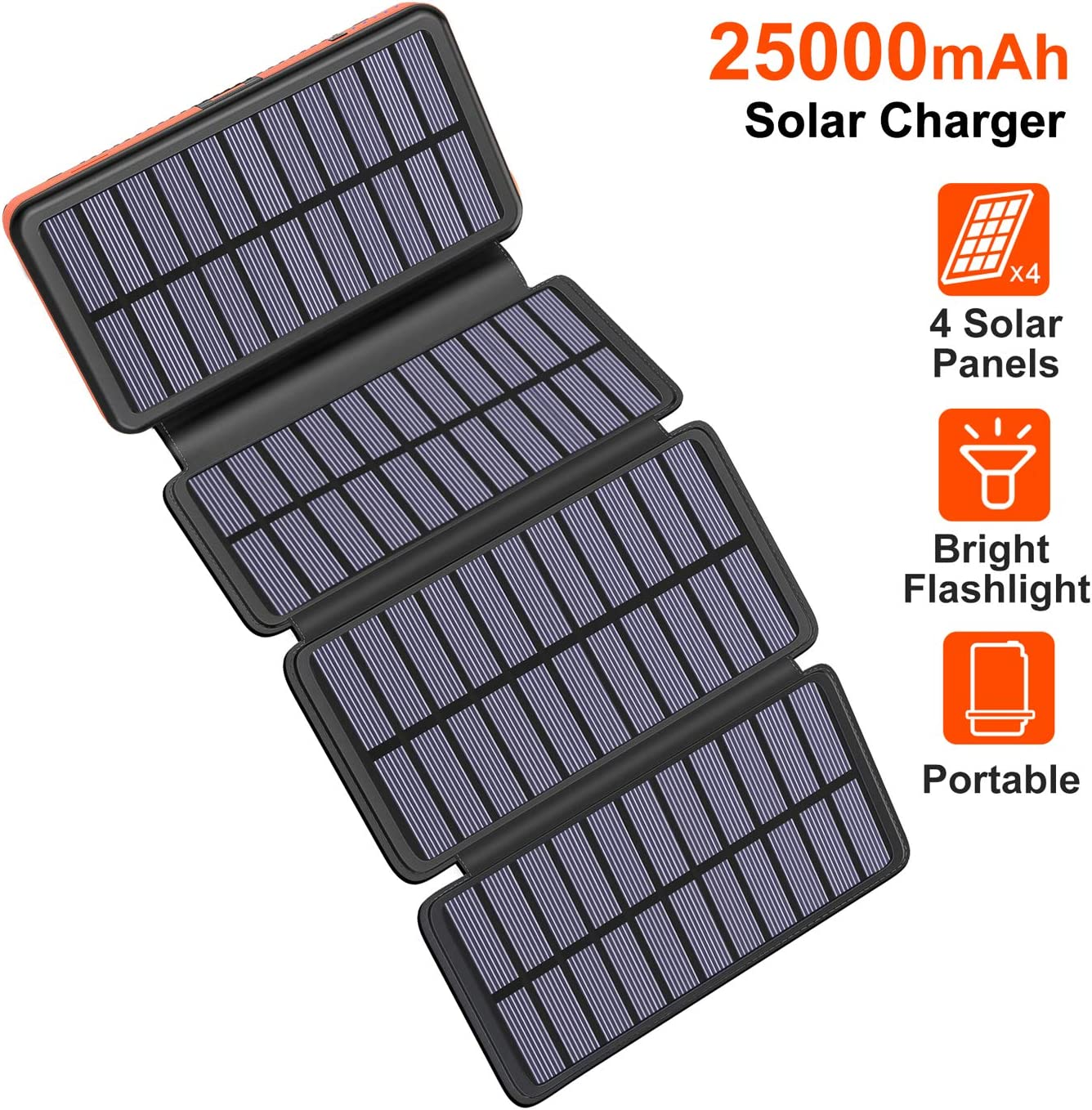 Solar Charger 25000mAh, Riapow Solar Power Bank with 4 Solar Panels and Dual USB & Type-C Input for Smart Phones, ipad and Laptop, Outdoor Waterproof