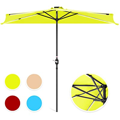 Best Choice Products 8.5ft Solar LED Strip Lighted Half Patio Umbrella - Light Green : Garden & Outdoor