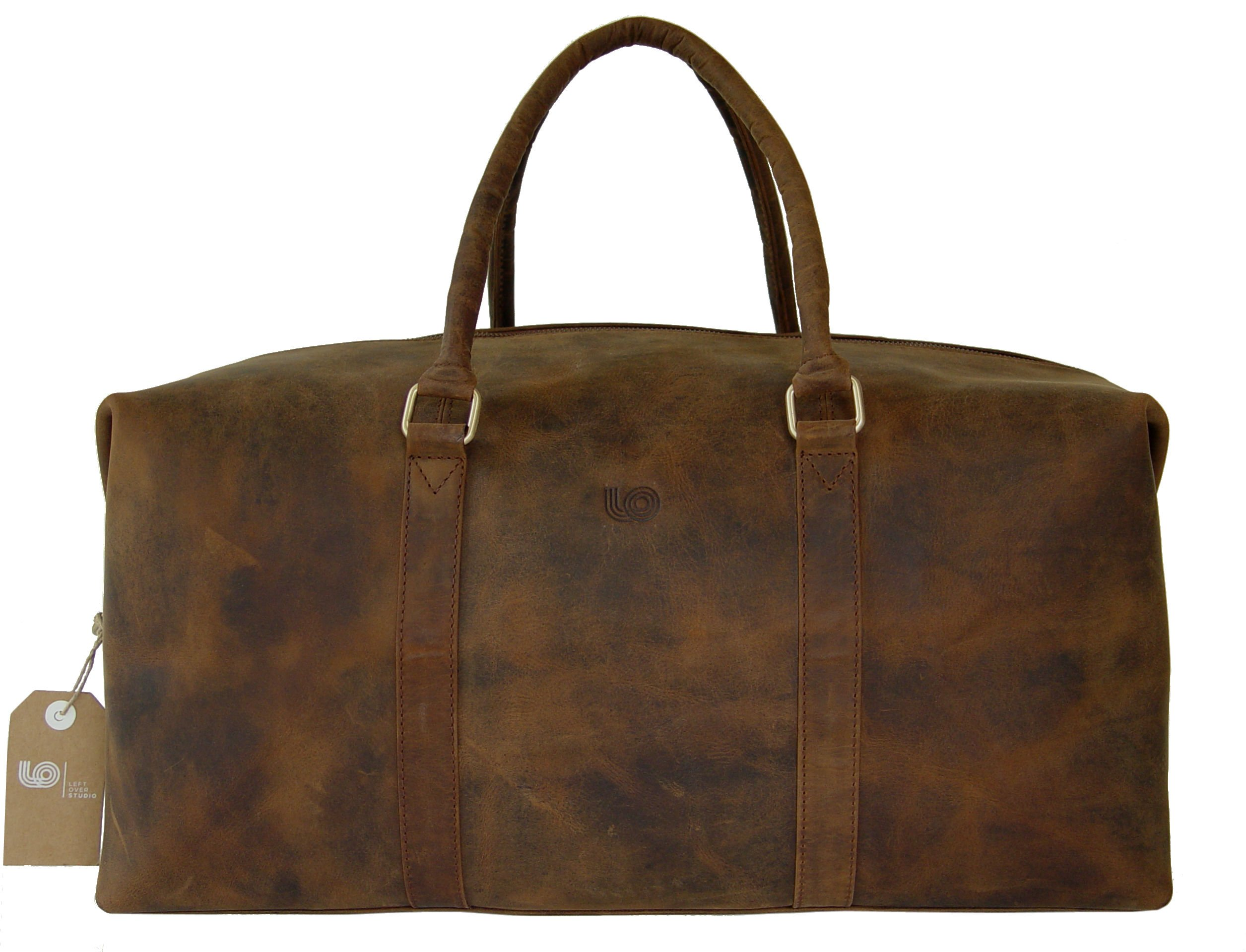LeftOver Studio Expandable Weekend Overnight Travel Duffel Bag in Thick Oil Pull Hunter Water Buffalo Leather by Leftover Studio (Image #2)