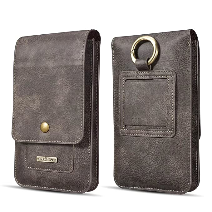 8195a690c39c DG.MING Universal Cowhide Genuine Leather Holster Pouch Belt Clip Cases for  All 6.5 inch Below Smart Mobile Phone (Grey)