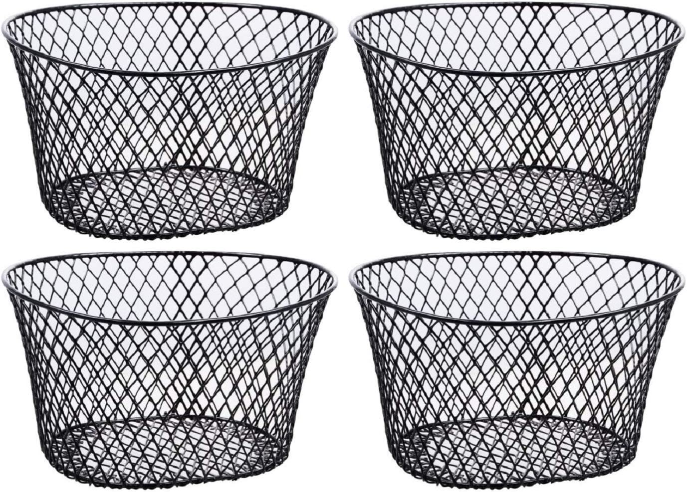 Amazon Com Small Metal Rectangular Oval And Round Wire Baskets With Or Without Handles Black And White 4 Ct Sets Oval Black Without Handles Kitchen Dining