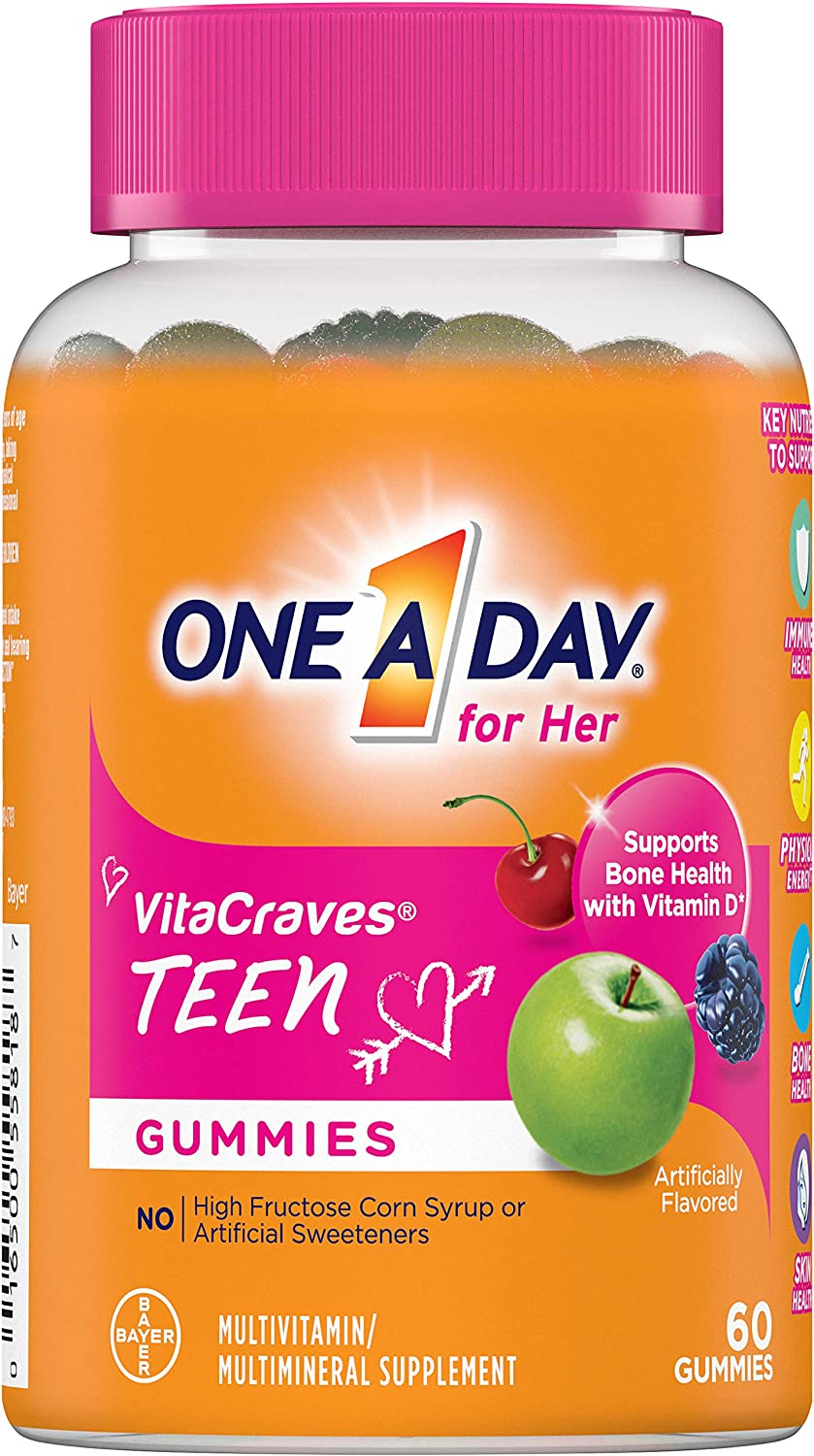 Amazon.com: One A Day Teen for Her Multivitamin Gummies, Supplement with Vitamin A, Vitamin C, Vitamin D, Vitamin E and Zinc for Immune Health Support* & more, 60 Count: Health & Personal
