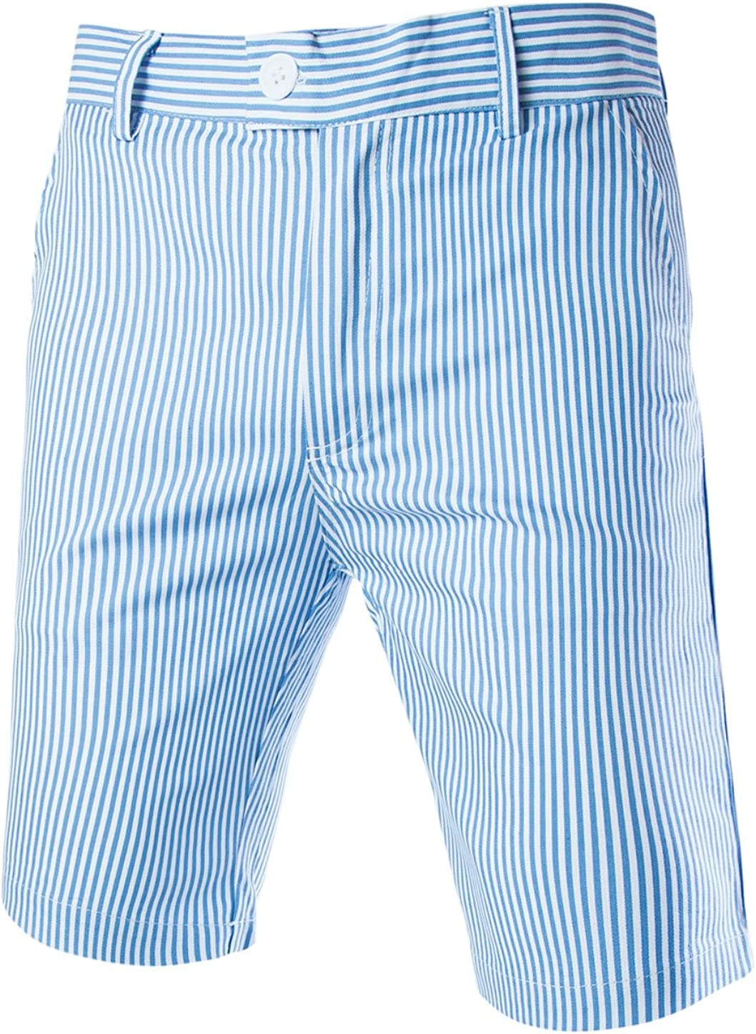 uxcell Men Summer Shorts Striped Slim Fit Flat Front Walk Chino Shorts