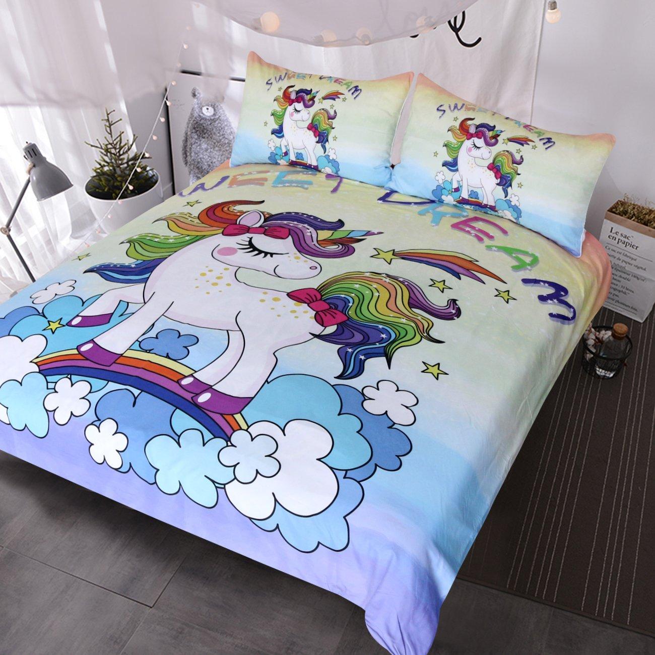 Twin BlessLiving Unicorn Kids Bedding Duvet Cover Set Cute Magical Unicorn with Rainbow 3 Piece Super Soft Teen Girl Purple Yellow Bedspreads