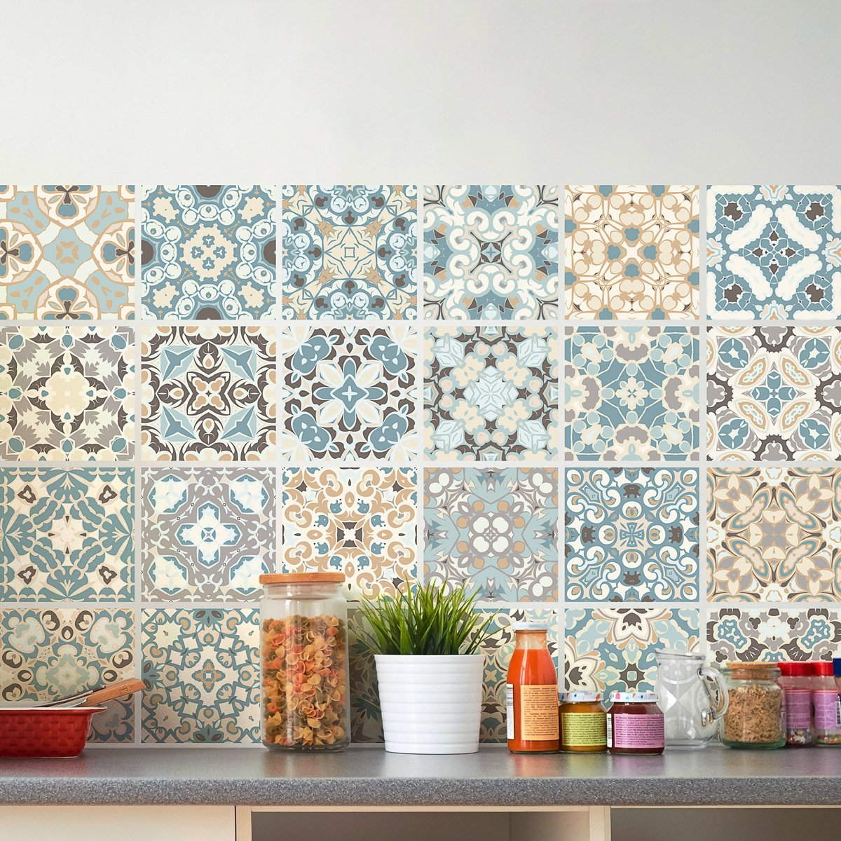 24 Adhesive Tile Adhesives Tile Stickers | Sticker – Wall tiles Bathroom and Kitchen Mosaic Tiles | Authentic Design – 10 x 10 cm, 24 Pieces Ambiance-Live