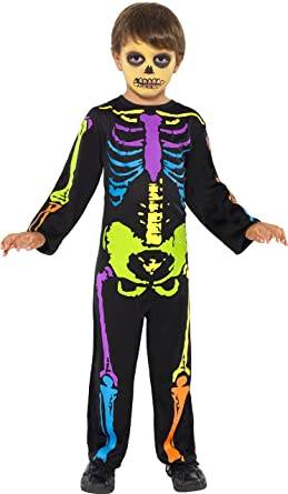 smiffys kids neon rainbow punk skeleton halloween costume small - Skeleton Halloween Costume For Kids