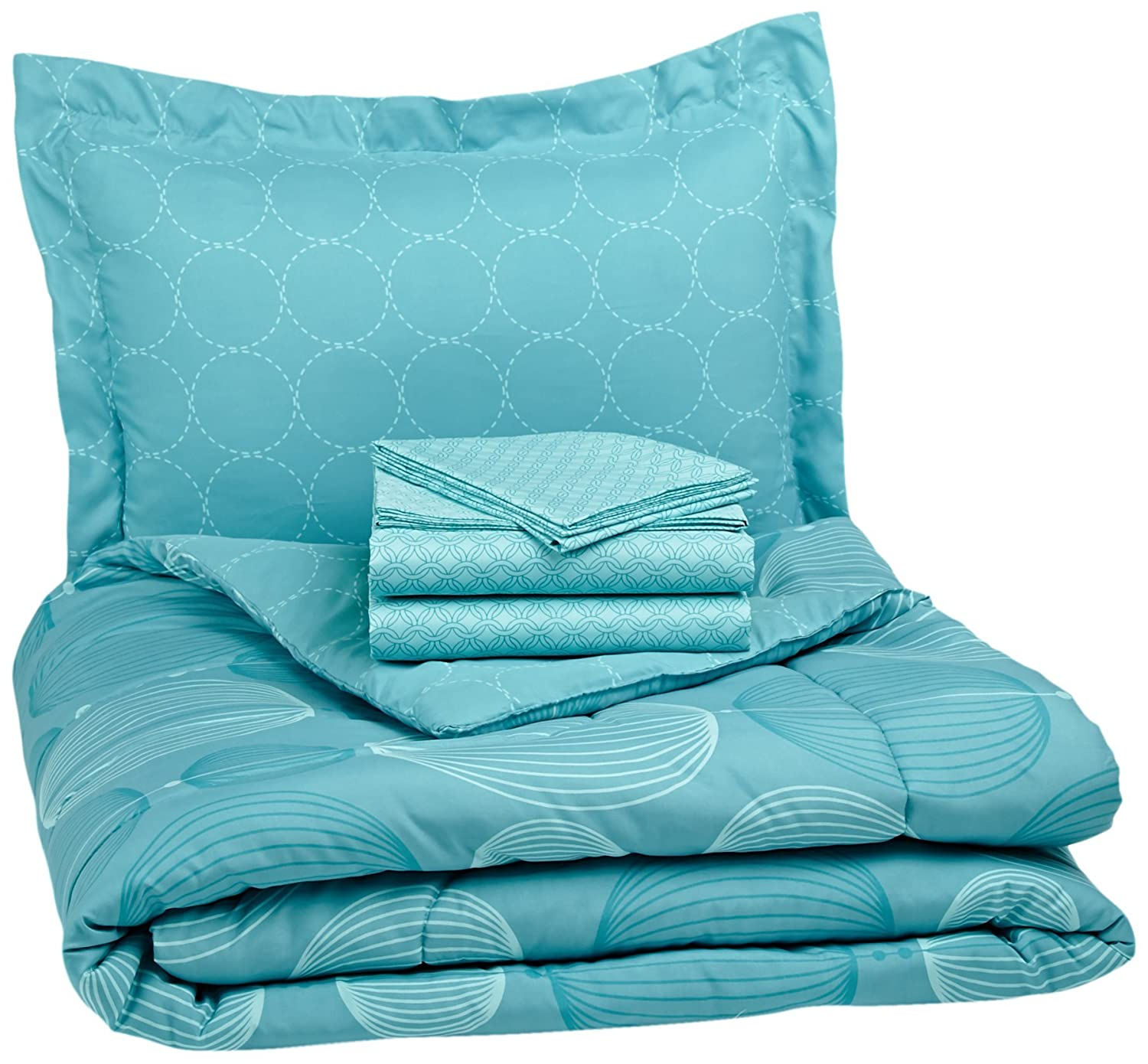 AmazonBasics 7-Piece Bed-In-A-Bag, Full/Queen, Industrial Teal BIAB-IVT-FL/QN-JS