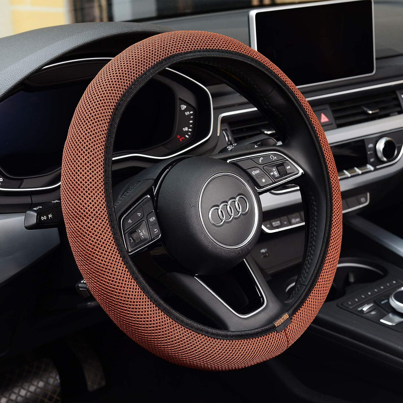 KAFEEK Steering Wheel Cover, Universal 15 inch, Microfiber Breathable Ice Silk, Anti-Slip, Odorless, Easy Carry, Browm