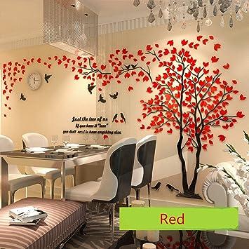 Diy 3d Riesiger Baum Paar Wandtattoos Wandaufkleber Kristall Acryl Malen Wanddeko Wandkunst M Rot Links