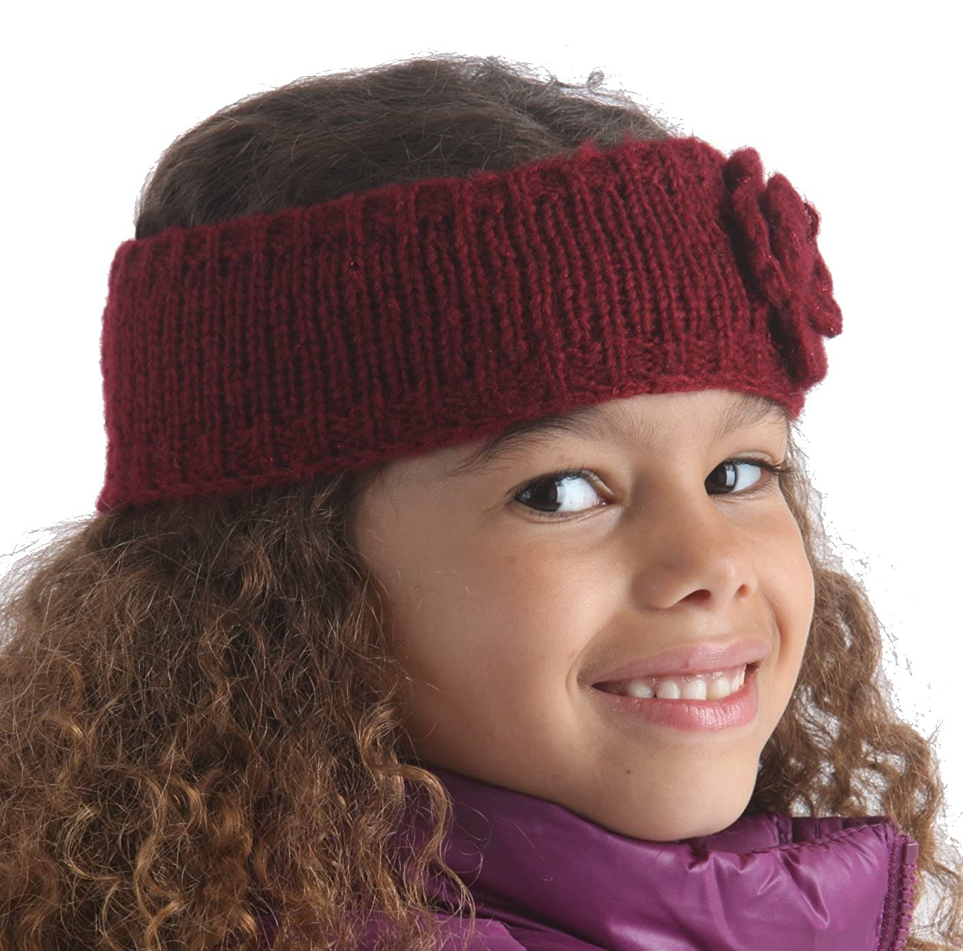 Available in 3 Colours RJM Girls Knitted Headband With Knitted Flower One Size
