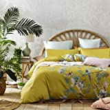 Exotic Modern Floral Print Bedding Birds Flowers Dusty Grey Design 100% Cotton Duvet Cover 3pc Set Hibiscus Blossom Branches