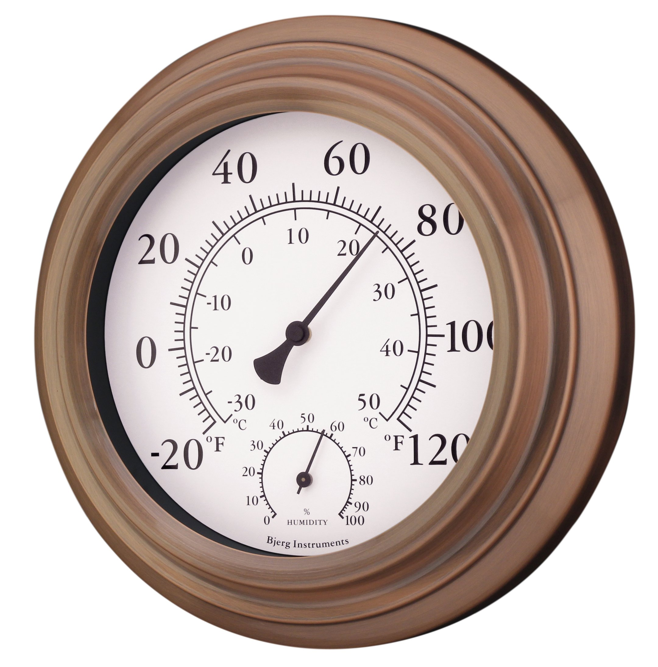 8'' Antique Copper Finish Decorative Indoor / Outdoor Thermometer and Hygrometer by Bjerg Instruments (Image #2)