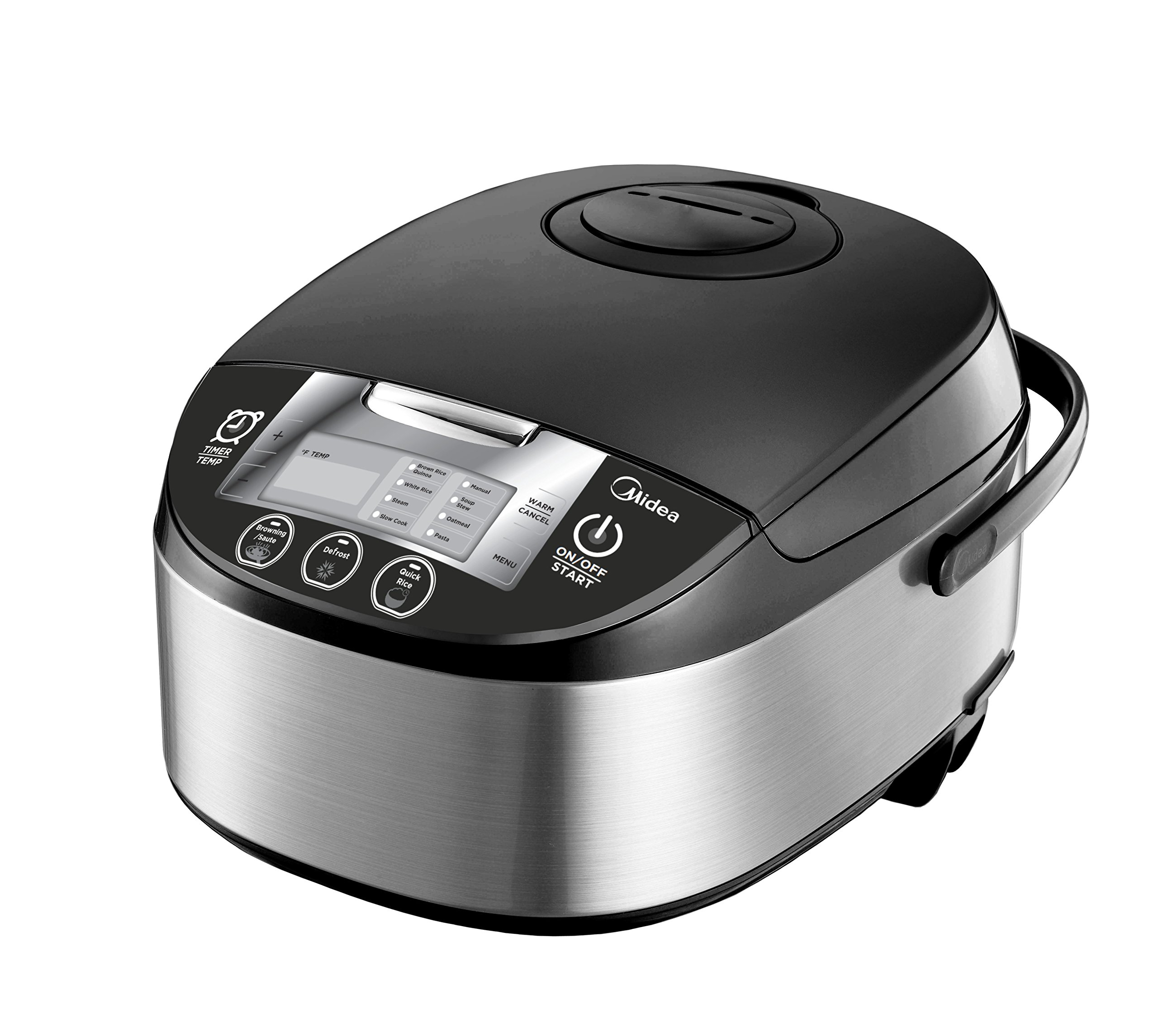 Midea 5 Quart 8-in-1 TasteMaker Rice Cooker/Multi-Functional Cooker (MMC1710-B), Stainless Steel with Black Lid