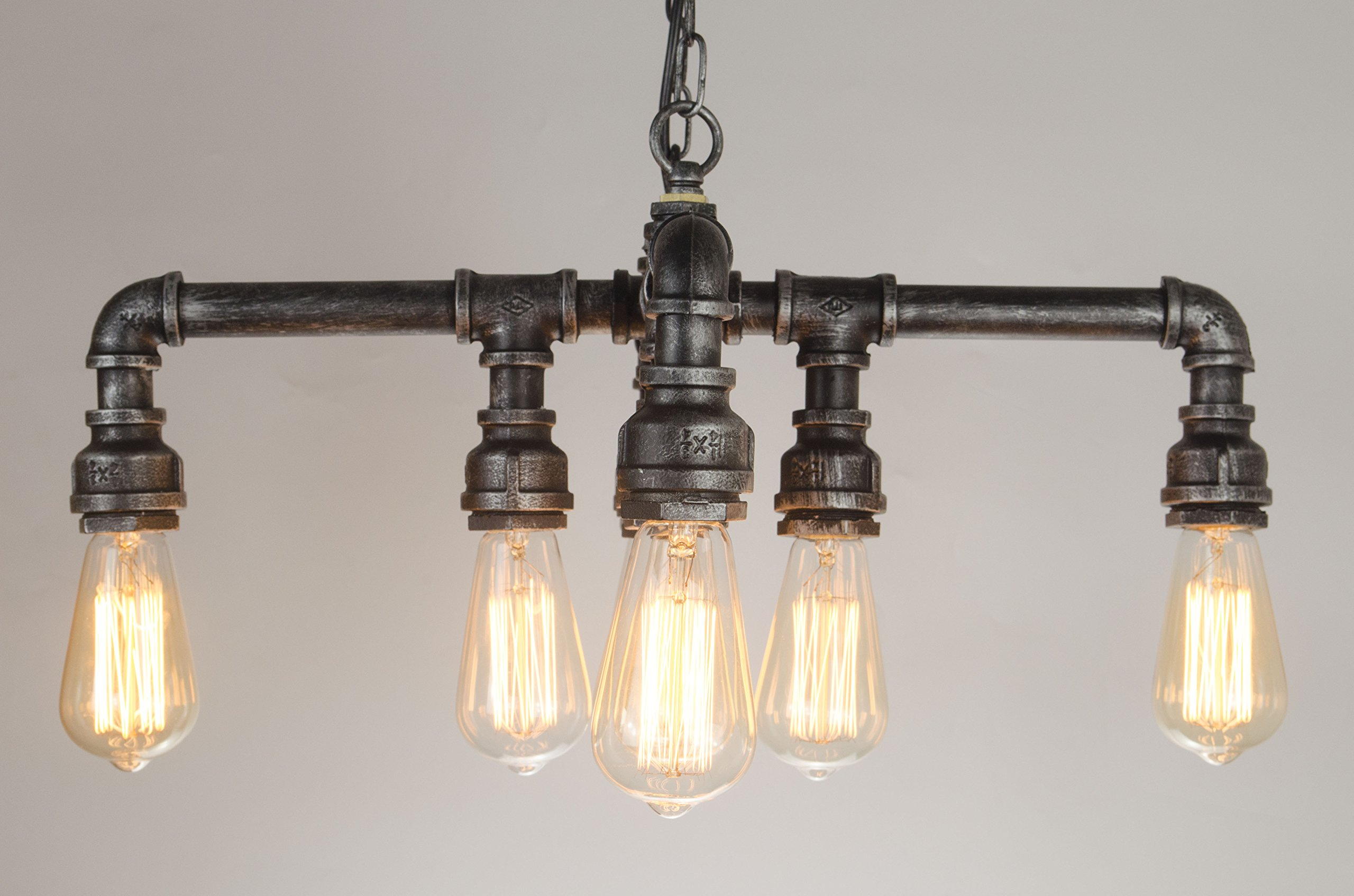 EdiMoM Brand; Vintage Metal Multiple Water Pipe Chandelier With Chain, 8 Lights, Max 480W, Black and Sliver