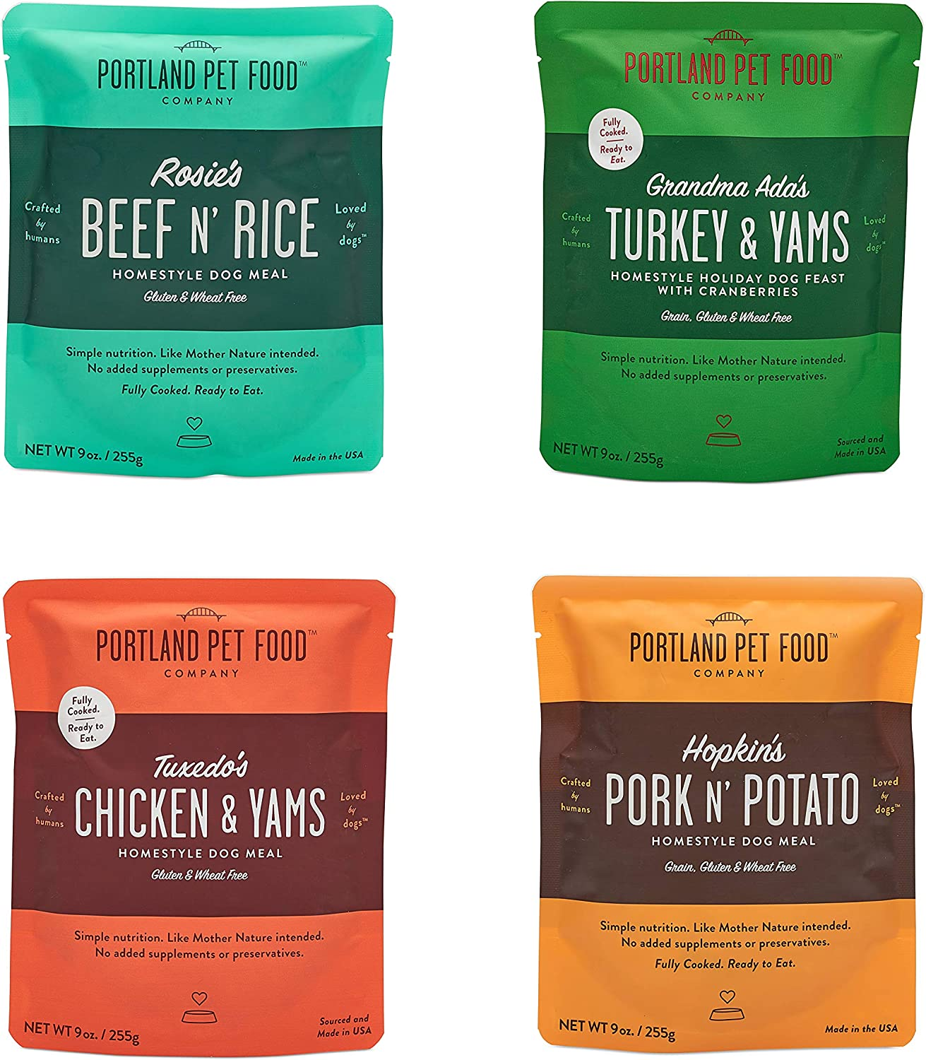 Crafted by Humans Loved by Dogs Portland Pet Food Company – All Natural Wet Dog Meal Pouches, Fully Cooked and Ready-to-Eat, Human-Grade, Gluten and Wheat Free, USA-Made, 4 Pack (4 x 9oz)