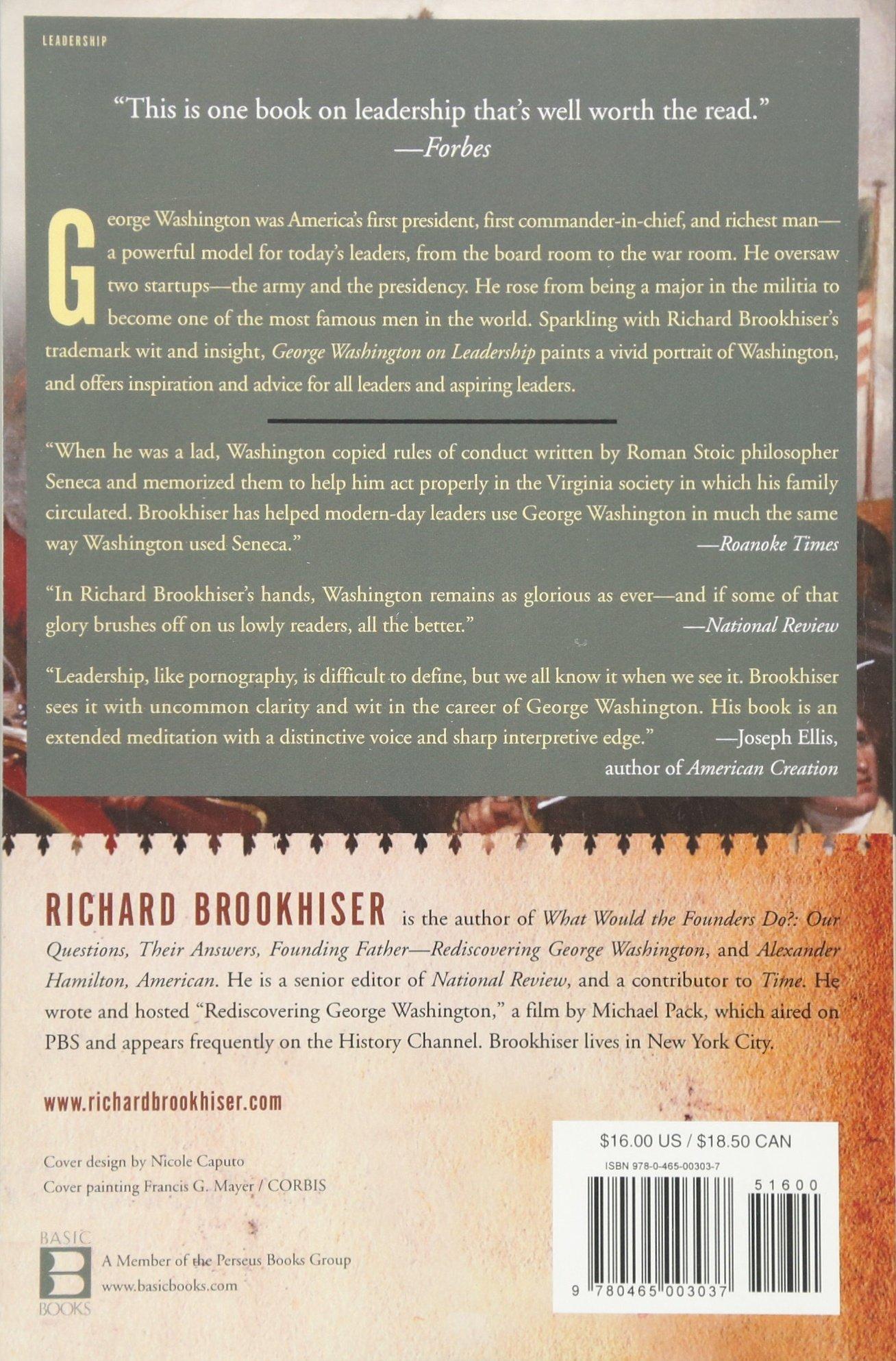Amazon: George Washington On Leadership (9780465003037): Richard  Brookhiser: Books