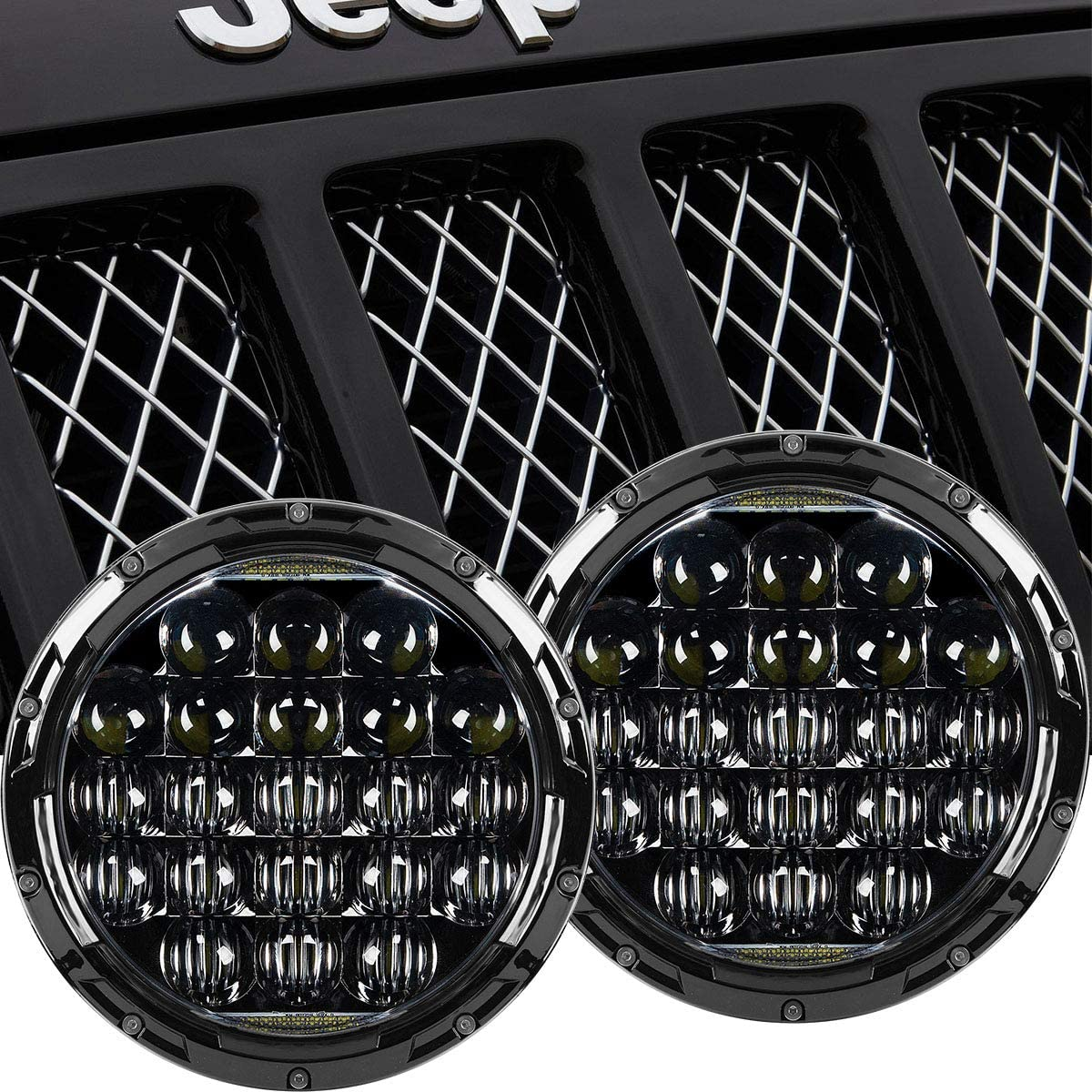 2Pcs 7/'/' 105W Round Cree LED Headlight Hi-Lo Beam Bulb For Jeep Wrangler JK TJ