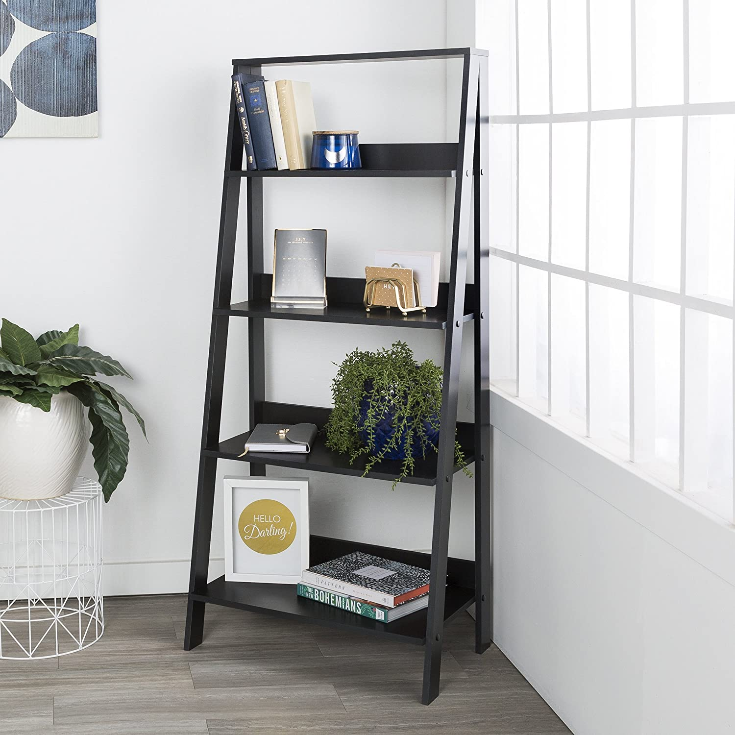 WE Furniture 55 Wood Ladder Bookshelf - Black AZS55LDBL