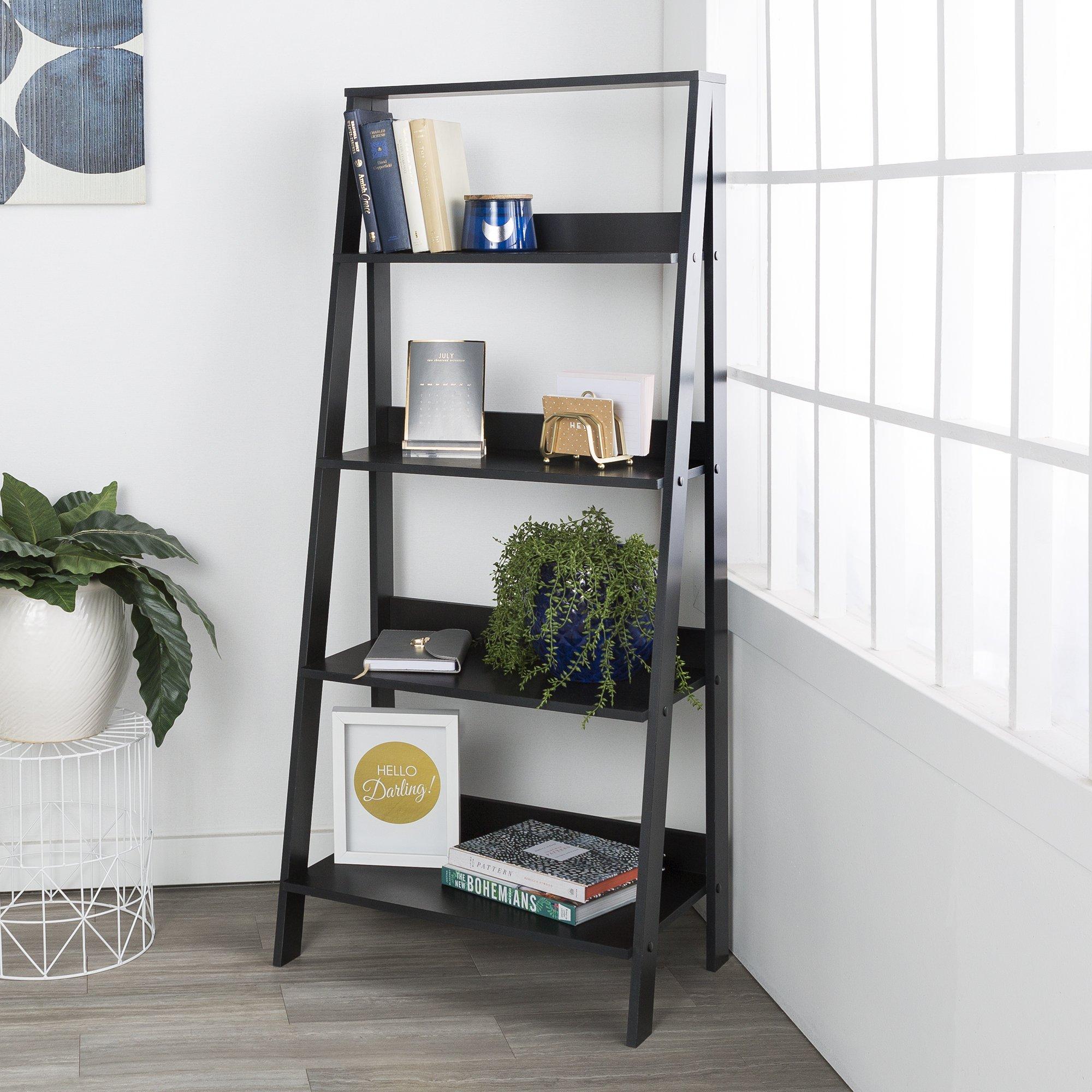 WE Furniture 55'' Wood Ladder Bookshelf - Black