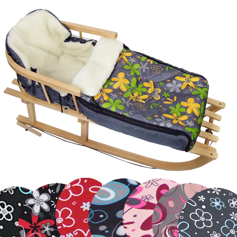 auch geeignet f/ür Babyschale Kinderwagen universaler Winterfu/ßsack BambiniWelt24 BAMBINIWELT Kombi-Angebot Holz-Schlitten mit R/ückenlehne /& Zugseil Buggy aus Wolle Design 90cm
