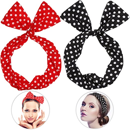 Rosie the Riveter Costume & Outfit Ideas Sea Team Wire Headband Stylish Retro Bowknot Polka Dot Wire Hair Holders for Women and Girls Red $7.49 AT vintagedancer.com
